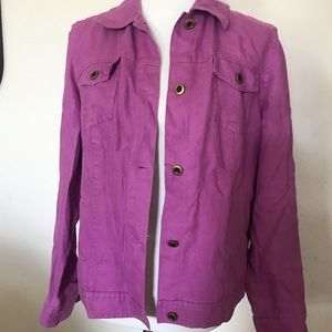 Magenta Purple Linen Blouse / Light Jacket